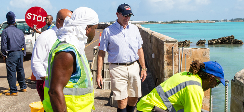 Premier of Bermuda, Michael Dunkley on the Causeway after Hurricane Nicole