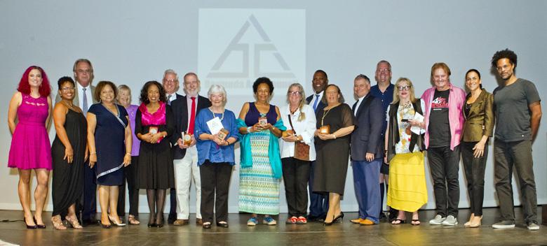 Award recipients, members of the Bermuda Arts Council and the Hon. Zane DeSilva, JP, MP