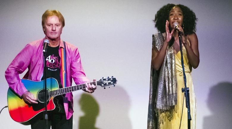 Singer Kassie Caines entertains the audience alongside guitarist/entertainer Tony Brannon