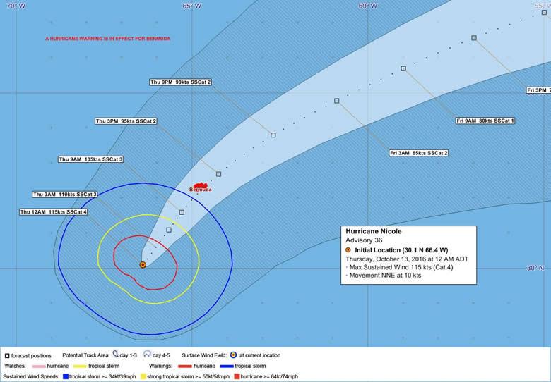 Bermuda Weather Service - Hurricane Nicole advisory #36