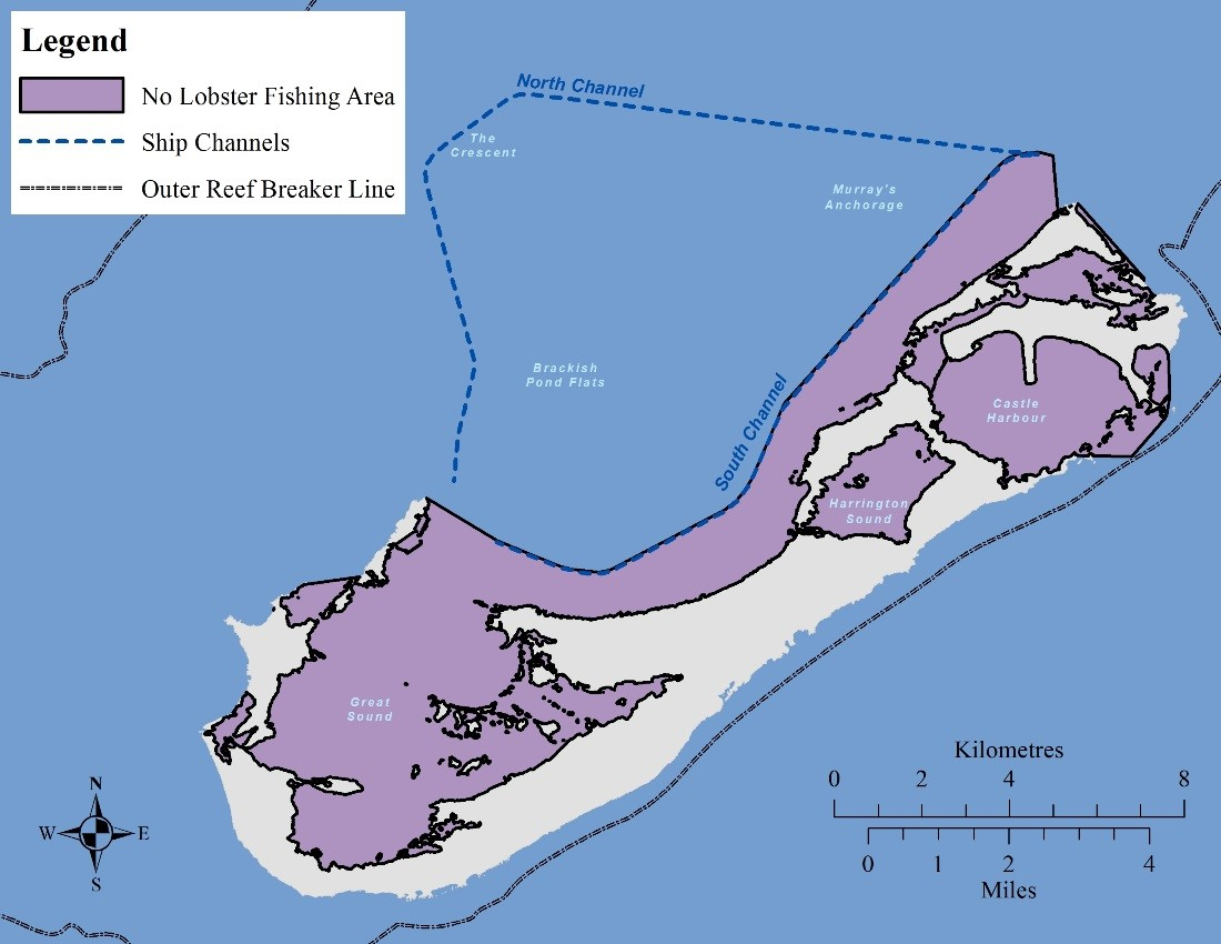 Map showing where you can dive for lobsters