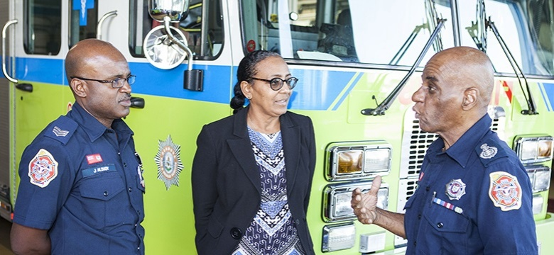 Minister Foggo with the Fire Services