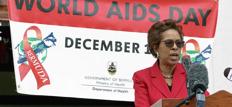 Word AIDs Day. Minister of Health and Seniors, the Hon. Jeanne Atherden, CA, CPA, JP, MP