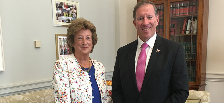 Premier Dunkley pictured with the Rt Hon Baroness Anelay
