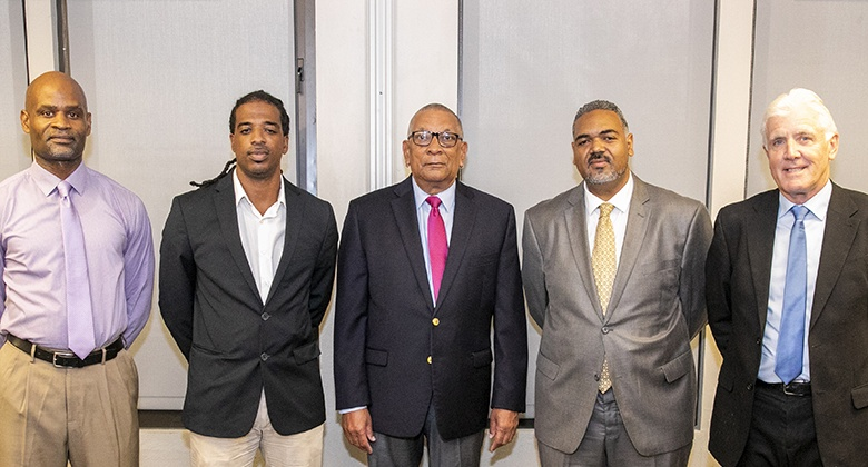 L-R - Abayomi Carmichael, Nasir Wade, Minister Burch, Kirk Outerbridge, Steven Conway