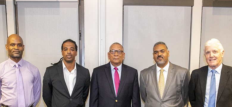 L-R - Abayomi Carmichael, Nasir Wade, Minister Burch, Kirk Outerbridge, Steven Conway